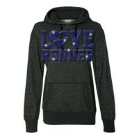 8860 Women's Glitter French Terry Hooded Pullover Thumbnail
